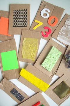 Loving these homemade cardboard sensory cards! 15 Independent Activities for One Year Olds Baby Sensory, Sensory Bins, Sensory Activities, Infant Activities, Sensory Play, Preschool Activities, Infant Sensory, Sensory Bottles, Toddler Play