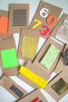 Se pueden utilizar así para hacer un juego de texturas o se pueden mojar en pintura y crear un dibujo con diferentes texturas y formas.