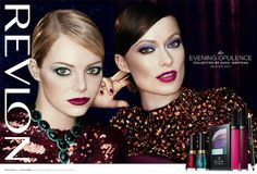 Emma Stone and Olivia Wilde appear together in a new Revlon ad. The ad is for Revlon's Evening Opulence collection by Gucci Westman. Olivia Wilde, Emma Stone, Revlon, Good Curling Irons, Get Glam, Gucci, Poses, Fall Makeup, Without Makeup