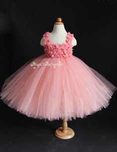 Peach Pink and Coral Flower Girl Tutu Dress with a matching headpiece birthday parties dress Easter dress Occasion dress
