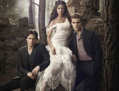 "The Vampire Diaries Cast: Ian Somerhalder ""Damon Salvatore,"" Nina Dobrev ""Elena Gilbert,"" Paul Wesley ""Stefan Salvatore"" Vampire Diaries Stefan, Serie The Vampire Diaries, Vampire Diaries Wallpaper, Vampire Diaries Seasons, Vampire Diaries The Originals, Ian Somerhalder, Delena, The Cw, Bonnie Bennett"