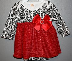 Black and white damask onesie with red sequin skirt by christy961, $24.00