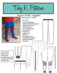 Toby K - Men/Teen Rogue River Joggers - Bartack Mens Slim Joggers, Cuffed Joggers, Kids Patterns, Pdf Sewing Patterns, Pattern Ideas, Sewing Men, Rogue River, Shirt Cuff, Mens Activewear