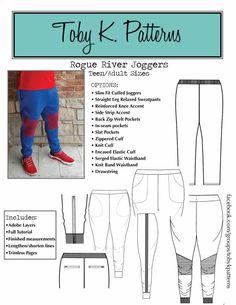 Toby K - Men/Teen Rogue River Joggers - Bartack Mens Slim Joggers, Cuffed Joggers, Sweatpants, Kids Patterns, Sewing Patterns, Pattern Ideas, Sewing Men, Rogue River, Shirt Cuff