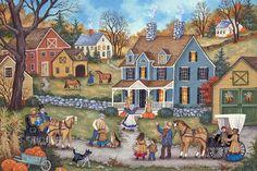 Thanksgiving Day Visitors - Bonnie White - Folk Art Painting