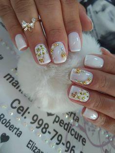 Lindíssimas ideias de unhas decoradas com jóias diseños de uñas en 2019 ног Pretty Nail Designs, Gel Nail Designs, French Nails, Nailart, Bridal Nail Art, Fire Nails, Stylish Nails, Nail Art Diy, Creative Nails
