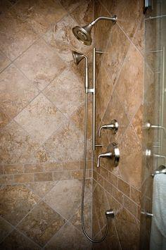 Travertine Tile Shower Designs | Travertine with Subway Tile Accent Border | Bathroom ideas