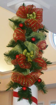 Swags made from old Christmas tree branches (Penetang Library)