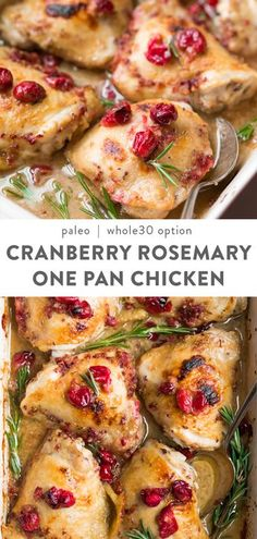 These cranberry rosemary one pan chicken thighs is an easy, healthy dinner perfect for your winter weeknight dinner rotation. Paleo, healthy, with a option, and low carb friendly. Full of flav One Pan Chicken, Baked Chicken, Perfect Chicken, Roast Chicken, Skillet Chicken, Recipe Chicken, Boneless Chicken, Rotisserie Chicken, Chicken Salad