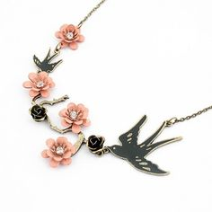 6.57$  Watch now - http://di6ng.justgood.pw/go.php?t=YE1816401 - Flower and Bird Shape Pendant Necklace