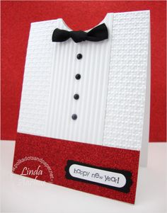 handmade New Years card ... shaped/designed as a tuxedo shirt and cumberbun ... luv all the textures  ... red glitter paper too ... great card!! ... Stampin' Up!