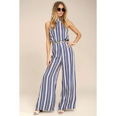3204da5adc4 Oceanside Blue and White Striped Halter Jumpsuit ( 68) ❤ liked on Polyvore  featuring jumpsuits