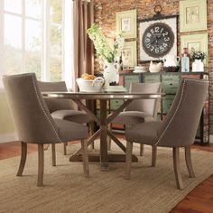DINING SPACE // Abbott Rustic Round Stainless Steel Strap Oak Trestle Dining Set - Overstock Shopping - Big Discounts on Dining Sets
