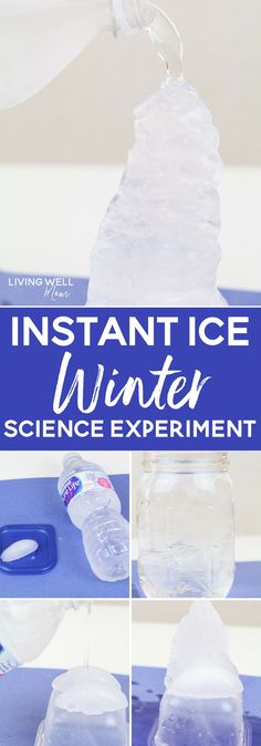 """This fun STEM activity teaches kids about the science of water and ice. They'll be amazed at how it appears you are pouring ice directly from a water bottle with this """"instant ice"""" activity!"""