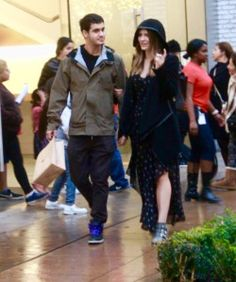 Elyes Gabel and Katharine McPhee Christmas Shopping in the Grove in Hollywood, Ca. December 22, 2015