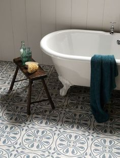 Beautiful floor tiles that really transform a this bathroom into something special.