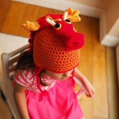 RED dragon hat with dragon head and scales - There's a RED dragon on my ORANGE hat - premium handmade crochet dragon hat for dragon fans Dragon Head, Red Dragon, Crochet Character Hats, Orange Hats, Crochet Dragon, Dragon Pattern, Birthday Gifts For Kids, Newborn Photo Props, Hat Making