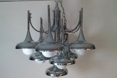 """Mid-Century Modern Chrome Trumpet Chandelier In The Manner Of """"Laurel"""" by FLORIDAMODERN on Etsy"""