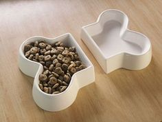 Two Piece White Ceramic Dog Dishes for Food and Water: Cool and simple food and water set. Miles likes modern design. Two Piece White Ceramic Dog D Shares Dog Food Bowls, Pet Bowls, Cute Dog Bowls, Dog Items, Dog Houses, Dog Accessories, Dog Supplies, Pet Shop, White Ceramics