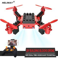47.77$  Buy here - http://ali4xz.shopchina.info/1/go.php?t=32815991544 - HELIWAY New RC Drone with Camera Building Block Style 6 Channel Remote Control UAV Airplane RC Quadcopter New Trend Model Toys   #bestbuy