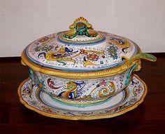 Magnificent Soup Tureen W/ Platter & Ladle -Deruta Raffaellesco Hand Painted