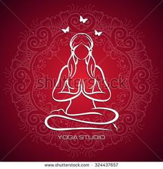 yoga pose flat line icon simple sign of woman in lotus