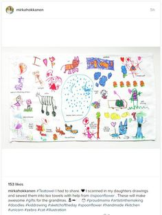 Use Spoonflower to make fabric from kids' drawings and sew them up for grandparents!