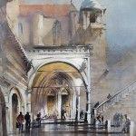 Thomas W. Schaller, Portico Assisi, watercolor, 24 x 18.