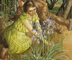 """""""Hilda with Bluebells"""" by Stanley Spencer, 1955"""