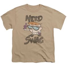 Dexter's Laboratory/Nerd Swag Short Sleeve Youth 18/1 in Sand