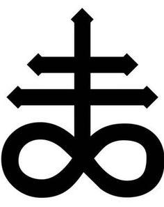 CRUZ SATANICA Usada por diversas sectas satánicas, es una variación del símbolo químico del Sulfuro. Simboliza burla y rechazo a Jesús abiertamente