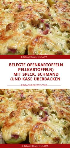 Served baked potatoes (boiled potatoes with bacon, sour cream and .-Belegte Ofenkartoffeln (Pellkartoffeln mit Speck, Schmand und Käse überbacken)… Served baked potatoes (baked potatoes with bacon, sour cream and cheese) 😍 😍 😍 - Vegetable Lasagna Recipes, Vegetarian Recipes, Butter Chicken, Hamburger Meat Dishes, Lard, Smoked Bacon, Mushroom Recipes, Sausage Recipes, Dinner Recipes