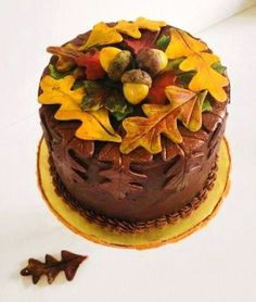 Leaf And Acorn Birthday Cake