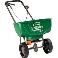 Scotts Company (Seed) - Turf Builder Edgeguard Deluxe Broadcast Spreader - Green - 032247762328. • New Cushioned Handle For Comfort and Support. • All New Hopper and Agitator Design Provides Improved Product Flow. • New Precision Rate Setting No Calibration Needed, Holds 10,000 Square Feet Of Scotts Lawn Fertilizer. • Superior Spreader That You Can Sell More Profitably.