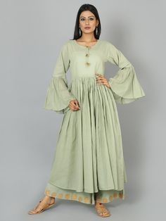 Pista Green Cotton Anarkali