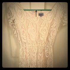 Lace Overlay Cap Sleeve Dress
