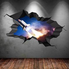 Items similar to Space Shuttle Rocket Cracked Wall Decal Sticker Stars Mural Decal Graphic Wall Art Boys Bedroom Wall Stickers on Etsy Childrens Wall Decals, 3d Wall Decals, 3d Wall Art, Framed Wall Art, Wall Stickers Stars, Cracked Wall, Galaxy Painting, Space Shuttle, Paintings