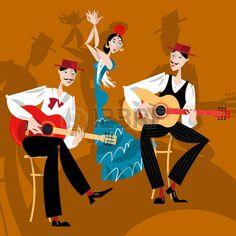 bailando flamenco: Flamenco. Muchacha de baile y dos hombres jugando una guitarra. Vectores Beautiful Images, Watercolor Art, Celtic, Spain, Anime, Fun, Movie Posters, Fictional Characters, Illustrator