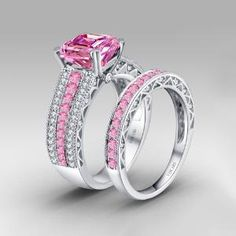 Asscher Cut Pink and White Cubic Zirconia 925 Sterling Silver White Gold Plated Wedding Bridal Ring Set $219.00 by Vancaro