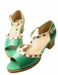 4dc3bb5aab52 Jollychic Women s Peep Toe Low Heel Rivets Color Contrast T Strap PU Sandals  Size 5 US