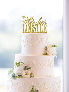 Glitter Hes Her Lobster Wedding Cake by ChicagoFactoryDesign