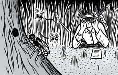 Man lying on stomach with binoculars cartoon. Looking at wasp nest.  Image from Stuart McMillen's comic Supernormal Stimuli.