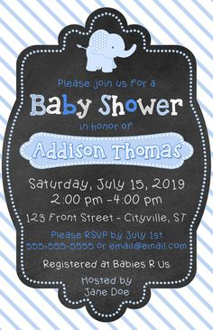 Blue and grey chalkboard elephant baby shower invitations. You email me your customization, I send you the file, you print for much less than you