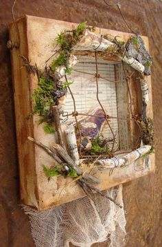 Bird Caged Altered Art...the canvas is cut and rolled back to create a shadow box, brilliant.