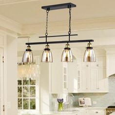 Knotty Pine Cabinets, Knotty Alder Kitchen, Overhead Lighting, Table Lighting, House Lighting, Lighting Ideas, Kitchen Island Lighting, Kitchen Islands, Kitchen Models