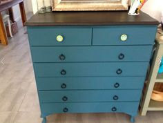 7 drawer tallboy. Painted and waxed - as usual all eco-friendly products. Annie Sloan Chalk Paint.