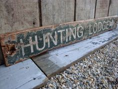 Rustic Distressed Hunting Lodge Directional Arrow Wood Lodge Sign