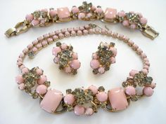 Vintage D Juliana Necklace, Bracelet and Clip-On Earrings Pink and Gray. $395.00, via Etsy.