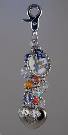 Autism Awareness Glow in the dark themed purse light by Diva Dangles at www.divadangles.com