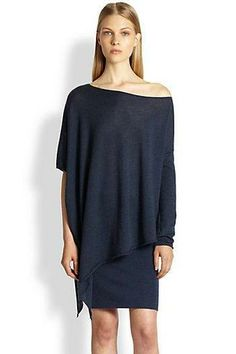 Donna Karan  Asymmetrical Cashmere Poncho Top || at SAKS